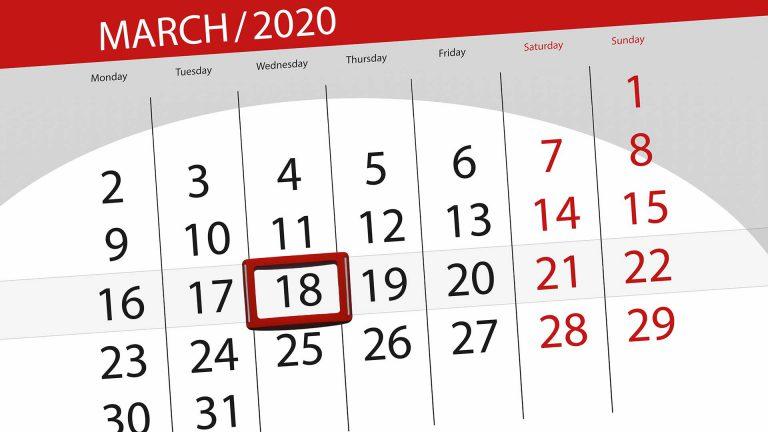 Grafik eines Kalenders mit markiertem Tag am 18.03.2020